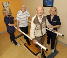 - Patients Laurie Phillips, 97 and James Jones, 87 on Rhydlafar Ward in St David's Hospital are pictured below practising weight bearing exercises with Physiotherapy Technical Instructors, Lynn Phillips and Amanda Spellacey.