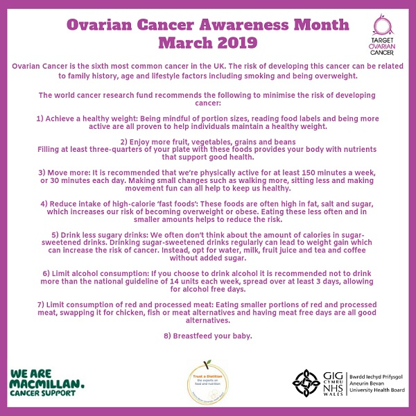 Health In Wales Ovarian Cancer Awareness Month March 2019